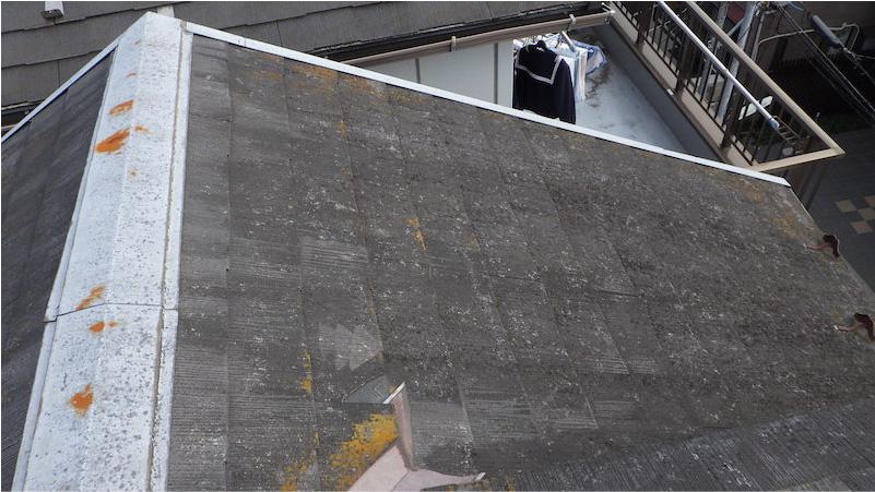 コケが発生したスレート屋根