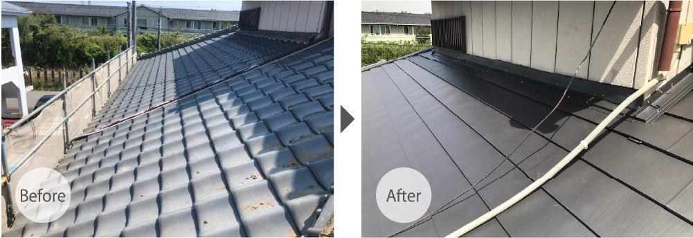 千葉市の屋根の葺き替え工事のビフォーアフター
