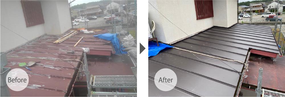 木更津市の屋根の葺き替え工事のビフォーアフーター
