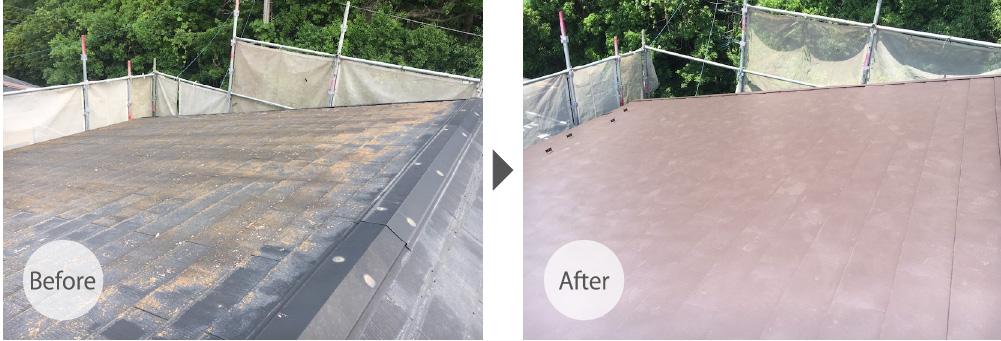 千葉県流山市の屋根葺き替え工事のビフォーアフター