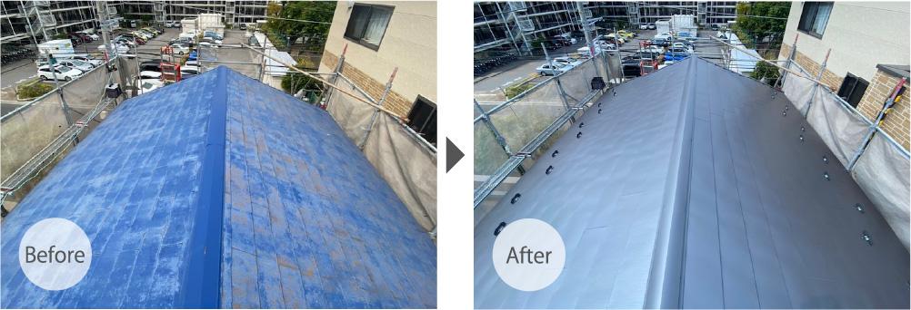船橋市の屋根の葺き替え工事のビフォーアフター