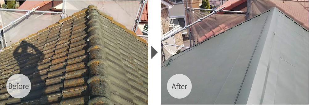 千葉市若葉区の屋根葺き替え工事に施工事例