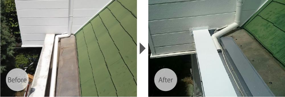 野田市の屋根の笠木の交換工事のビフォーアフター