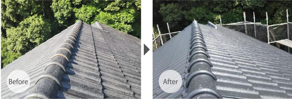 我孫子の屋根塗装のビフォーアフター例
