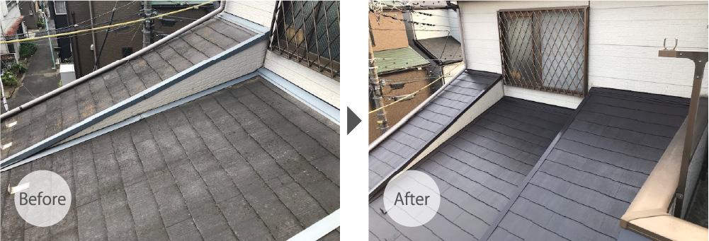 墨田区の屋根塗装のビフォーアフター