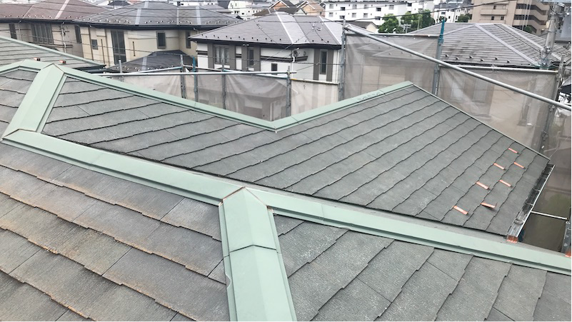 船橋市の屋根塗装の施工前の様子