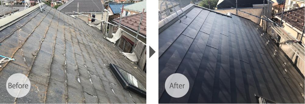 船橋市の屋根カバー工法のビフォーアフター