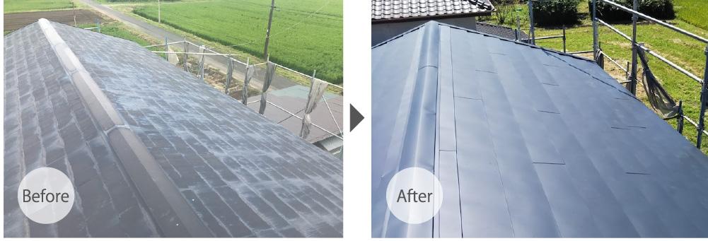 匝瑳市の屋根カバー工法のビフォーアフター