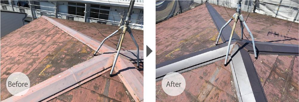 目黒区の屋根塗装のビフォーアフター