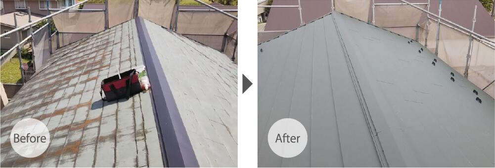 君津市の屋根カバー工法のビフォーアフター