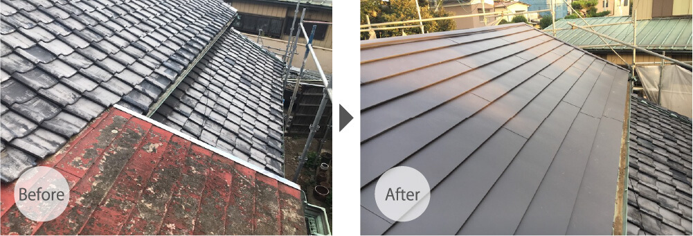 野田市の屋根の葺き替え工事の施工事例のビフォーアフター