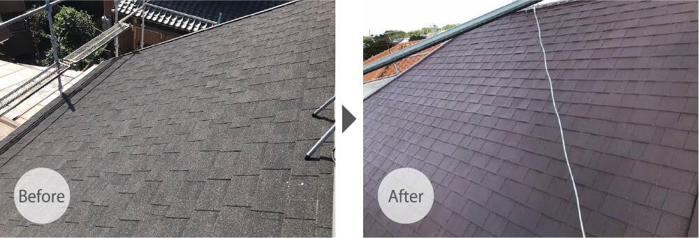 市川市のアスファルトシングル屋根塗装の施工前と施工後の様子