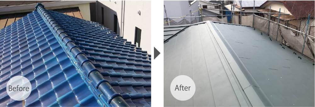 市川市の屋根葺き替え工事のビフォーアフター