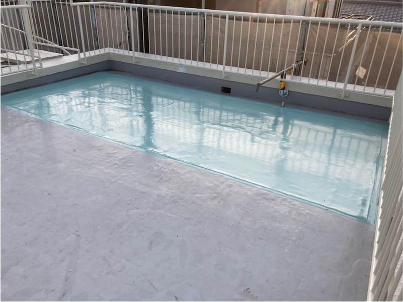 市川市の屋上防水工事の施工後の様子