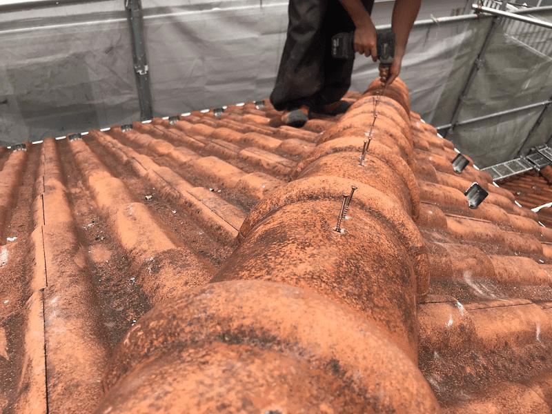 保土ヶ谷区の屋根修理の釘の取り付け